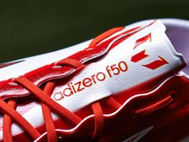 Close-up shot of the tongue of the new adizero f50 Messi boots