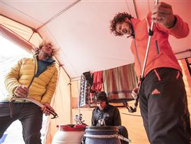 Guido, Flo and Hechei at base camp, Karakorum, Pakistan