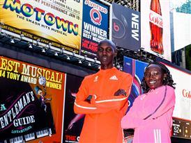 Kipsang Keitany Times Square waist high