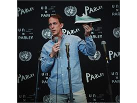 Eric Liedtke showcasing adidas x Parley for the Oceans concept shoe