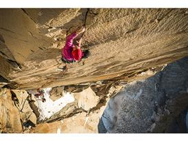 Mayan Smith-Gobat climbing pitch 31 (7c+)in the route riders on the Storm, Torres del Paine.