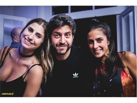 Renata Heilborn with Bruno de Almeida and Carol Barcellos in Ipanema's opening