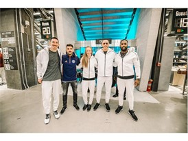 From L to R Sacha Kljestan, David Villa, Becky Sauerbrunn, Carlos Correa and DeMarco Murray @adidas NYC Flagship Opening