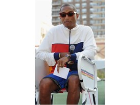 Pharrell Williams in Umpire Chair after reading manifesto