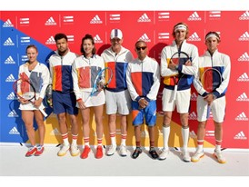 Pharrell Williams and Stan Smith with athletes Garbiñe Muguruza, Angelique Kerber, Sascha Zverev, Dominic Thiem + Jo-Wi