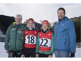 v.l.: DSV-Präsident Dr. Franz Steinle, Maren Hammerschmidt, Laura Dahlmeier, adidas CEO Kasper Rorsted