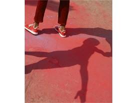 +H21254 adidas Originals PHARRELL WILLIAMS Hu Holi adicolor Key Visual Footwear Shot Red