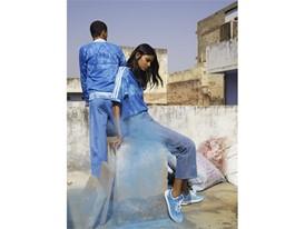 +H21254 adidas Originals PHARRELL WILLIAMS Hu Holi adicolor Key Visual Footwear Shot Blue
