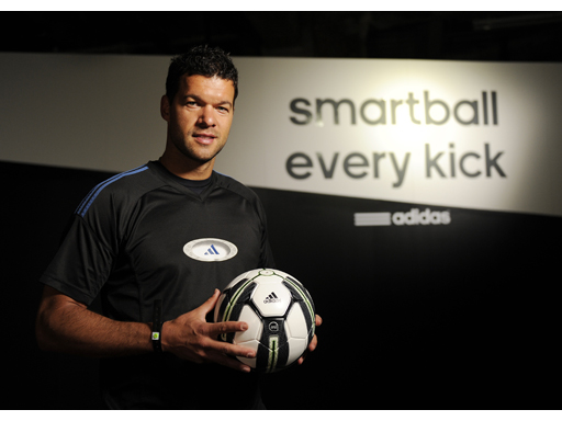 Michael Ballack holding the adidas Smart Ball