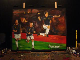Own the moment: this painting of FIFA 2010 WORLD CUP ADIDAS FUTURA ROJA PAINTING JUNE 25