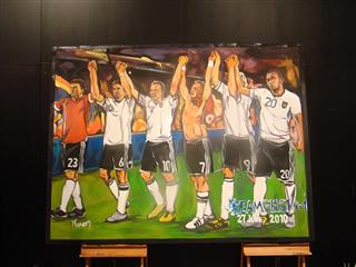 Own the moment: this painting of FIFA 2010 WORLD CUP ADIDAS TEAMGEIST 4-1 JUNE 27 captures the spirit of the players and can be yours.