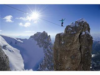 Hayley Ashburn highlining in the Dolomites