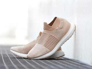The adidas Ultraboost Laceless Returns in Nude And Blue Colorways