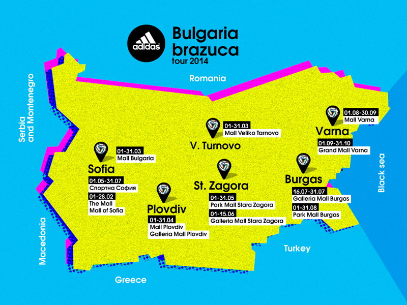 Map of Brazuca Tour