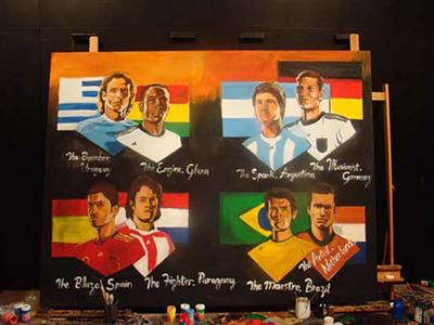 Own the moment: this painting of FIFA 2010 WORLD CUP ADIDAS THE LAST EIGHT PAINTING JULY 1