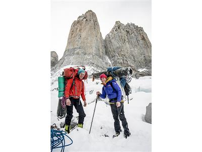 Ines Papert and Mayan Smith-Gobat descending after they have climbed the route Riders on the Storm in Torres del Paine