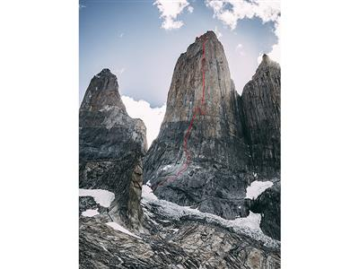Topo of the route Riders on the Storm in Torres del Paine-photo credits Franz Walter/adidas Outdoor
