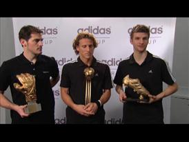 Diego Forlán, Iker Casillas and Thomas Müller presented FIFA World Cup™ awards by Franz Beckenbauer