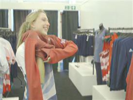 Laura Trot goes to adidas kitting out for London Olympics 2012 in Loughborough – B Roll GVs