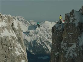 Hayley Ashburn highlining in the Dolomites