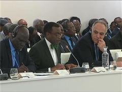 COP21 - The African Initiative. M. Akinwumi Adesina, president of the African Bank of Development speaks at COP21