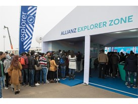 People lining up for their Explorer T-shirts