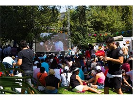 Crowds gather to watch the Formula-E championship race in Santiago