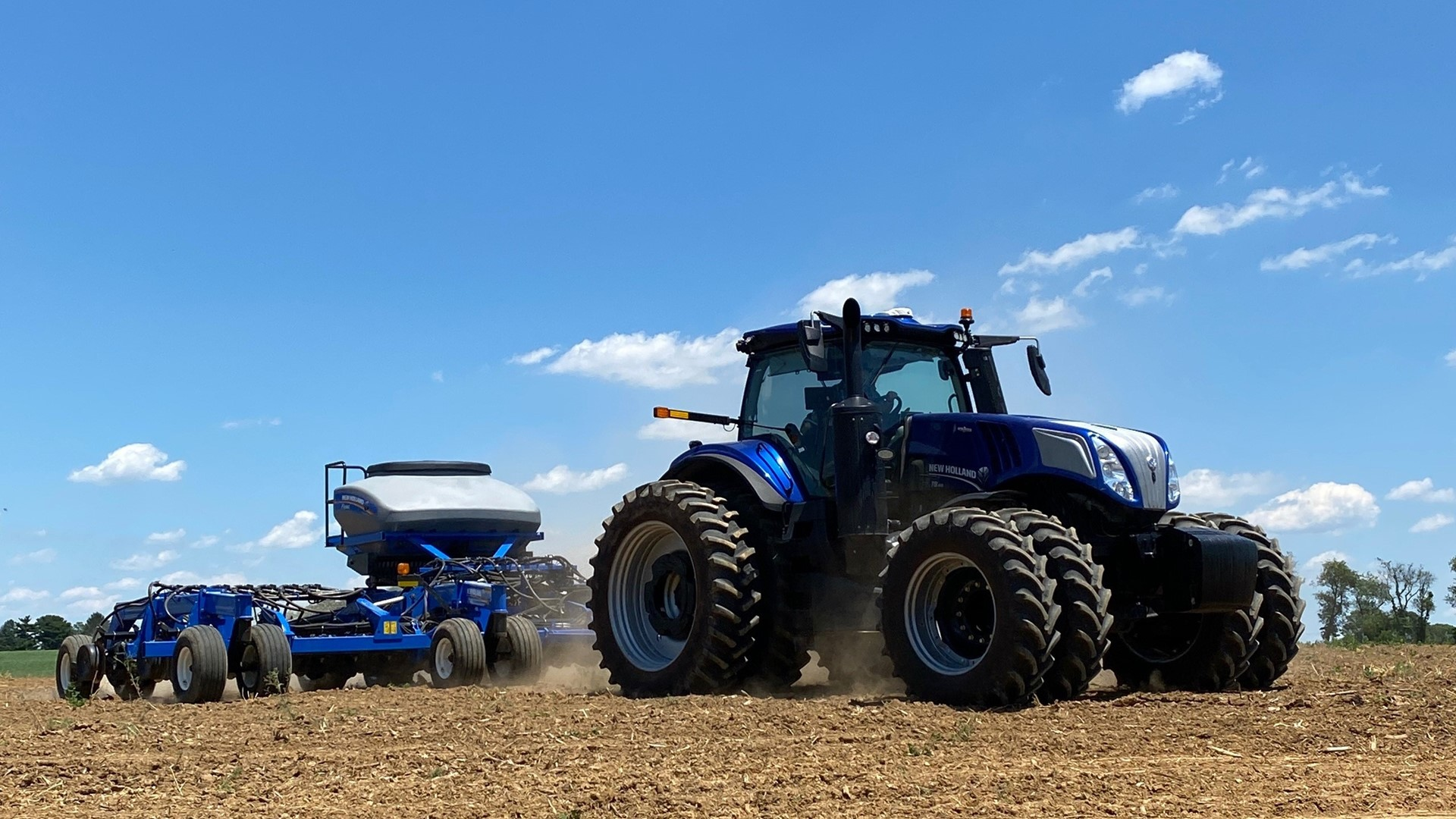 New Holland T8 Genesis planting industrial hemp at the brand's test plot in Pennsylvania, USA