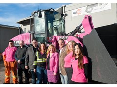 Pink CASE 621F Wheel Loader Battles Breast Cancer One Snowflake at a Time