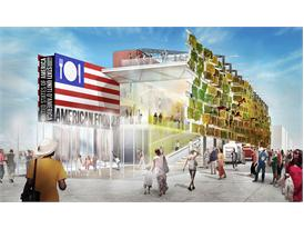 Rendering of the US Pavilion at Expo 2015