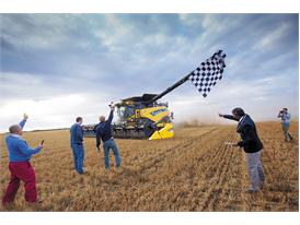 After 8 hours the New Holland CR10.90 had harvested 797 tonnes of wheat in eight hours