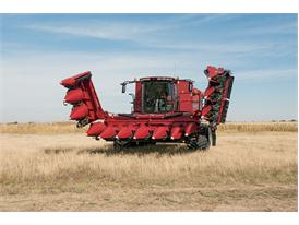 Case IH Axial Flow Combine with the flip-up tall corn attachment for the 4400 series corn heads