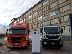 Two Iveco Stralis Hi-Way trucks powered by LNG (Liquefied Natural Gas)