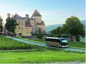The Iveco Bus Magelys at the Château de Pierreclos