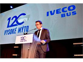 Pierre Lahutte, Iveco Brand President delivers speech at Vysoke Myto anniversary