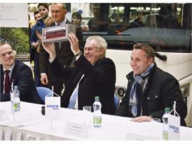 Czech Republic President Zeman hold scale model of Iveco Bus