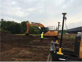 Case CX210C fitted with Leica Geosystem precision construction technological solutions