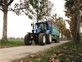 New Holland T6.140 Methane Power Tractor doing high speed transport