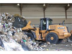 Case 721F wheel loader working at a waste management facility