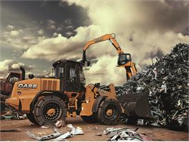 Case 721F wheel loader at a recycling facility