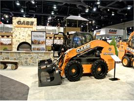 Case SV300 skid steer loader on the stand at Conexpo