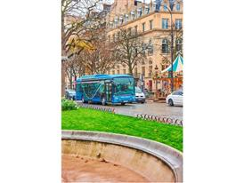The Heuliez Bus GX ELEC electric bus being road tested in Paris(portrait image)
