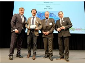 Alessandro Bernardini Innovation Director Truck and Bus at CNH Industrial (second from left) accepts European Sustainabi