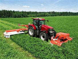 Case IH Puma 185 CVX with a butterfly mower