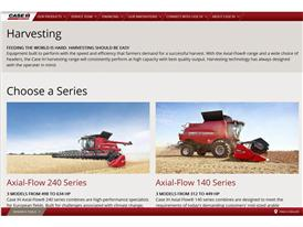 The Case IH redesigned website that offers maximum customer comfort Screenshot - Harvesting Products