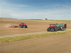 Case IH Optum 300 CVX with a slurry tank on the road and Optum 300 CVX with a disc harrow in the field