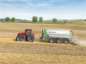 Case IH Optum 300 CVX with a slurry tank in the Field