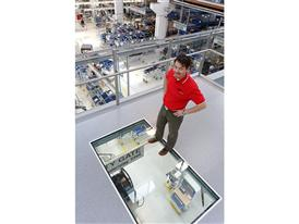The Skywalk at the St. Valentin plant offers a bird's eye view of the production line