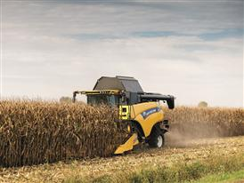 New Holland CR8.80 Combine Harvester in the Field Harvesting Maize