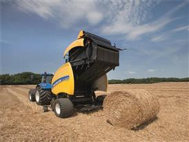New Holland Roll Belt™ 180 SuperFeed™ ejecting a straw bale